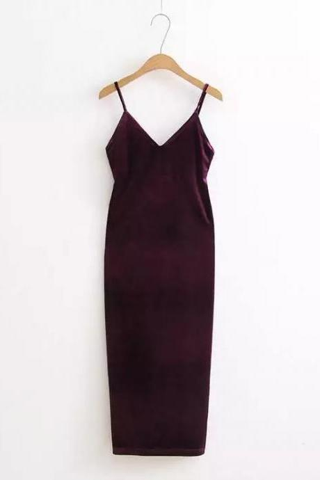 Sexy Velvet Cami Dress Slim Backless V-Neck Spaghetti Strap Evening Party Robe Side Split Long Dress dark purple