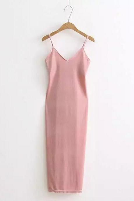 Sexy Velvet Cami Dress Slim Backless V-Neck Spaghetti Strap Evening Party Robe Side Split Long Dress pink