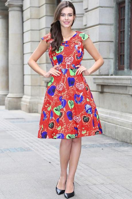 Women Floral Printed Dress Sleeveless Belted Vintage 50s 60s Audrey Hepburn Rockabilly Knee Length Swing A Line Dress C898-red