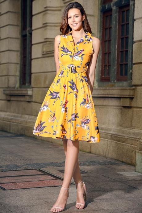 Audrey Hepburn Robe Retro Rockabilly Dress V Neck Belted Knee Length Jurken 50s 60s Swing Floral Printed Pin up Women Casual Vintage Dress C877-yellow