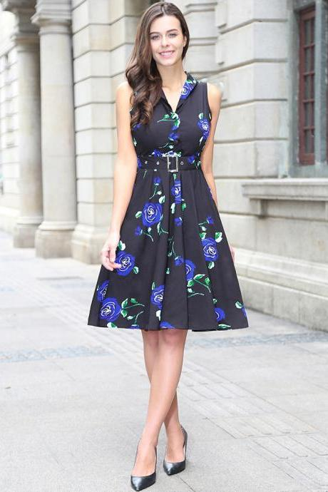 Audrey Hepburn Robe Retro Rockabilly Dress V Neck Belted Knee Length Jurken 50s 60s Swing Floral Printed Pin up Women Casual Vintage Dress C880-blue