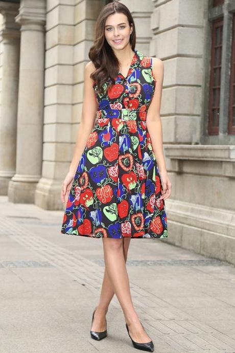 Audrey Hepburn Robe Retro Rockabilly Dress V Neck Belted Knee Length Jurken 50s 60s Swing Floral Printed Pin up Women Casual Vintage Dress C881-black
