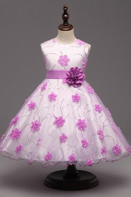 Fantasy Baby Girl Clothes Flower Princess Dress Sequin Wedding Party Christmas Children Costume Kids Dresses lilac
