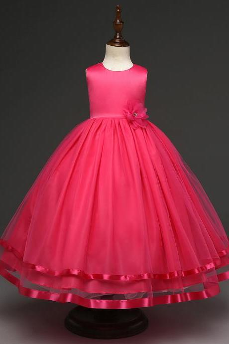 Kids Girls Party Wear Costume For Children Summer Princess Wedding Dress Girls Ceremonies Teenagers Prom Dresses Formal Vestidos hot pink