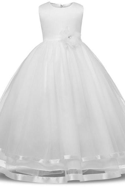 Kids Girls Party Wear Costume For Children Summer Princess Wedding Dress Girls Ceremonies Teenagers Prom Dresses Formal Vestidos white