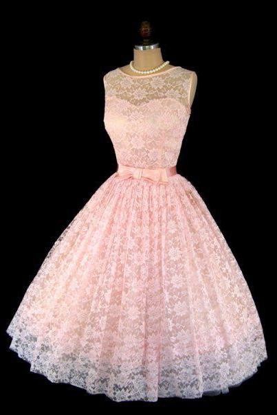 A Line Vintage Pink Lace Prom Dresses Sleeveless Mini Short Homecoming Dress Party Dress Cocktail Gowns Vestidos
