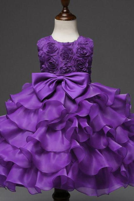 Baby Girl Christening Gowns Newborn Birthday Dress Fuffly Baby Lace Bow Infant Princess Costume 0-2Years purple