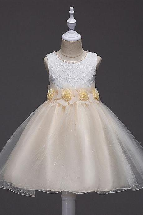 2017 Summer Flower Girls Fancy Beaded Dress Baby Princess Children Evening Party Wedding Tutu Lace Dresses Ball Gown champagne