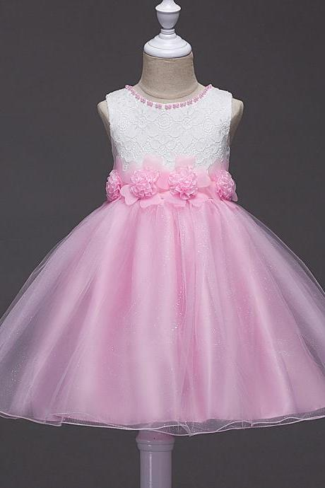 2017 Summer Flower Girls Fancy Beaded Dress Baby Princess Children Evening Party Wedding Tutu Lace Dresses Ball Gown pink
