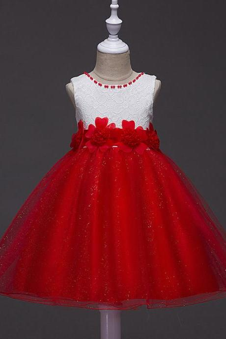 2017 Summer Flower Girls Fancy Beaded Dress Baby Princess Children Evening Party Wedding Tutu Lace Dresses Ball Gown red