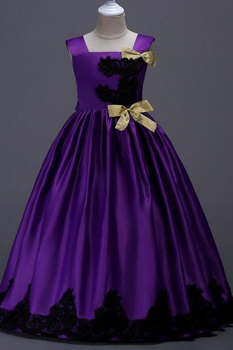 Long Party Pageant Prom Dresses Satin Formal Flower Girl Ball Gown Teens Junior Kids Children Clothes purple