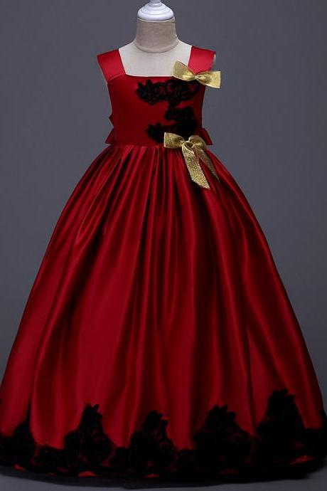 Long Party Pageant Prom Dresses Satin Formal Flower Girl Ball Gown Teens Junior Kids Children Clothes red