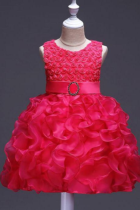 Little Girl Tutu Dress Princess 2017 New Ruffles Lace Kids Events Party Wear Dresses For Girls Children's Costume For Girls Clothes hot pink
