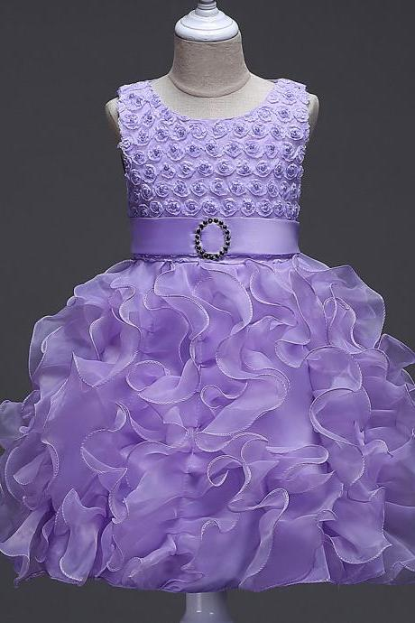 Little Girl Tutu Dress Princess 2017 New Ruffles Lace Kids Events Party Wear Dresses For Girls Children's Costume For Girls Clothes lilac