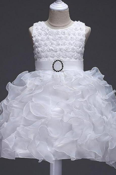 Little Girl Tutu Dress Princess 2017 New Ruffles Lace Kids Events Party Wear Dresses For Girls Children's Costume For Girls Clothes white