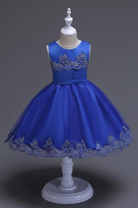 2017 Brand Quality Girls Tutu Dress Embroidery Flower Lace Kids Clothes Princess Prom Party Wear royal blue
