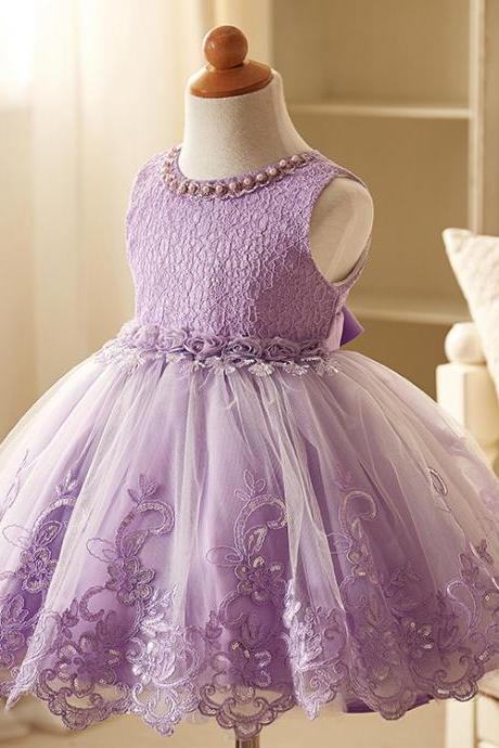 Beaded Embroidery Lace Flower Girl Dresses Sleeveless Wedding Party Tutu Kids Ball Gown Children Clothes lilac