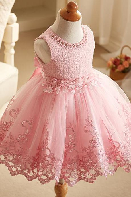 Beaded Embroidery Lace Flower Girl Dresses Sleeveless Wedding Party Tutu Kids Ball Gown Children Clothes pink
