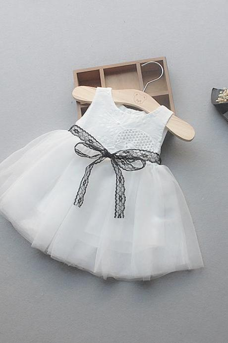 Flower Girl Princess Dress Tutu Infant Baby Kids Clothing Summer Toddler Children Clothes white