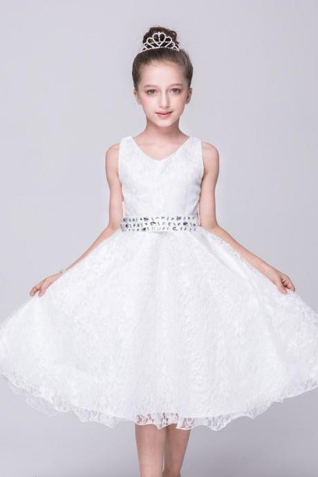 Lace Flower Girls Dress Children Clothing Beaded Party Princess Baby Kids Prom Party Dress Teen Costume off white