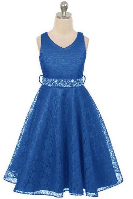 Lace Flower Girls Dress Children Clothing Beaded Party Princess Baby Kids Prom Party Dress Teen Costume royal blue