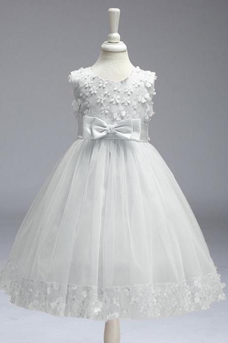 Flower Girl Dresses for Wedding Pageant First Holy Lace Communion Dress Kids Children Clothes Teens A Line Dress white