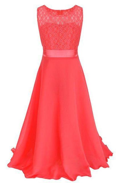 Lace Flower Girls Dress Party Wedding Bridesmaid Floral Kids Clothes Formal Long Maxi Dress coral