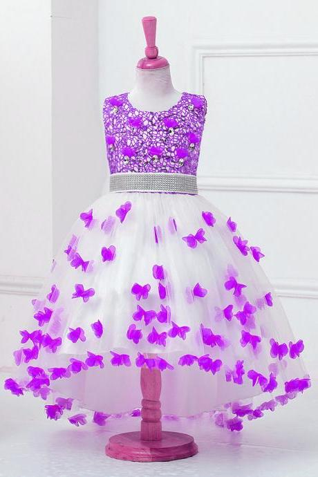 High Low Flower Girl Dress Sequins Trailing Butterfly Wedding Gown Kids Party Prom Children Dress lavender