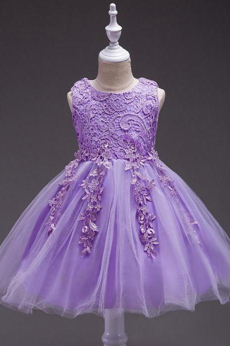Kids Tutu Birthday Princess Party Dress Infant Lace Flower Girls Children Bridesmaid Dress Baby Clothes lilac