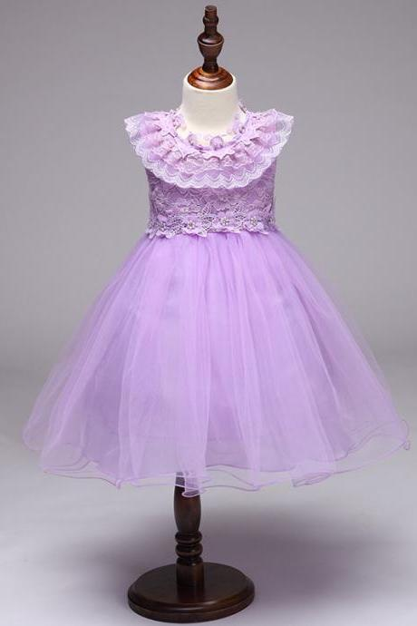 Princess Flower Girl Party Dress Ruffle Lace Wedding Children Kids Formal Prom Tutu Toddler Clothes lilac