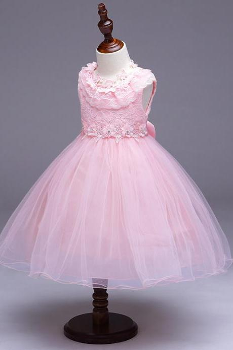 Princess Flower Girl Party Dress Ruffle Lace Wedding Children Kids Formal Prom Tutu Toddler Clothes pink