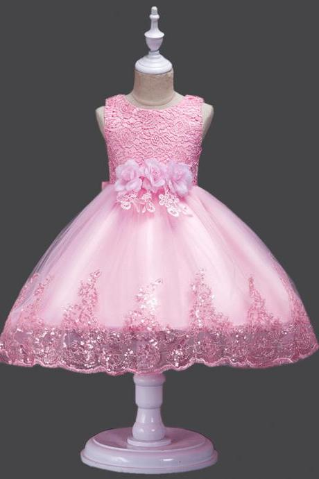 Princess Flower Girl Dress Wedding Party Prom Teens Bridesmaid Kids Clothes Sleeveless Lace Tutu Dress pink