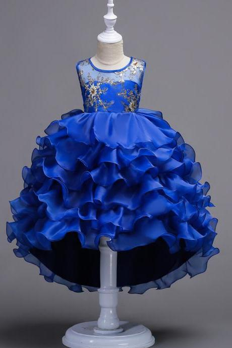 Short Front Long Back High Low Lace Flower Girls Dress Ruffles Junior Kids Tailing Party Pageant Gowns Children Clothes blue