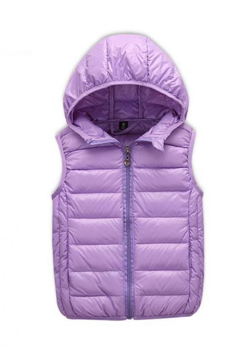 Kids Vest Baby Girls Waistcoat Duck Down Vests Hooded Warm Kids Outerwear Coats Winter Vest Children Clothes lilac
