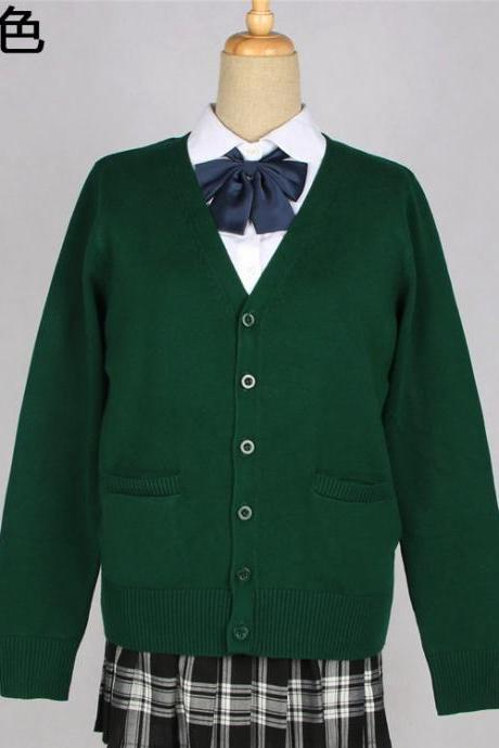 Japanese School Harajuku Style JK Uniforms Cardigan Long Sleeve Cotton Women Knited Outerwear Sweater hunter green
