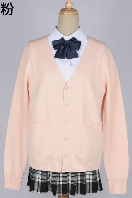 Japanese School Harajuku Style JK Uniforms Cardigan Long Sleeve Cotton Women Knited Outerwear Sweater salmon