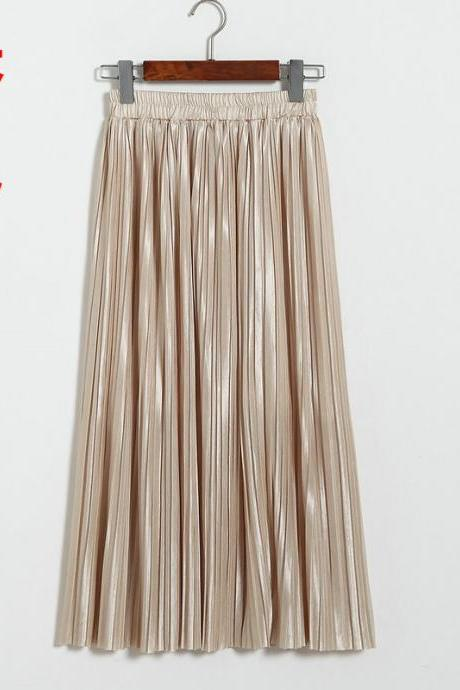 Women Metallic Tutu Midi Skirt Elestic High Waist Log Pleated Skirt Party Club Ladies Saia Fenimias apricot