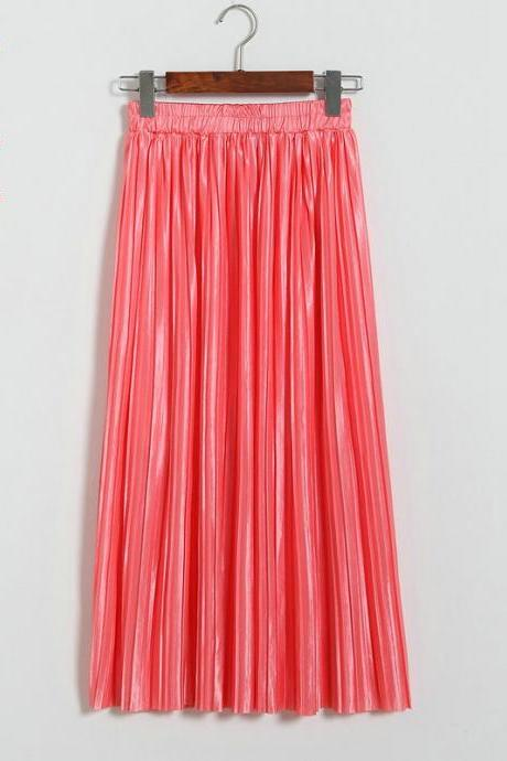 Women Metallic Tutu Midi Skirt Elestic High Waist Log Pleated Skirt Party Club Ladies Saia Fenimias coral