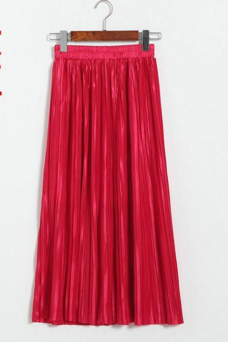 Women Metallic Tutu Midi Skirt Elestic High Waist Log Pleated Skirt Party Club Ladies Saia Fenimias red