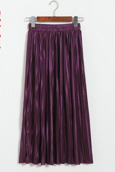 Women Metallic Tutu Midi Skirt Elestic High Waist Log Pleated Skirt Party Club Ladies Saia Fenimias dark purple