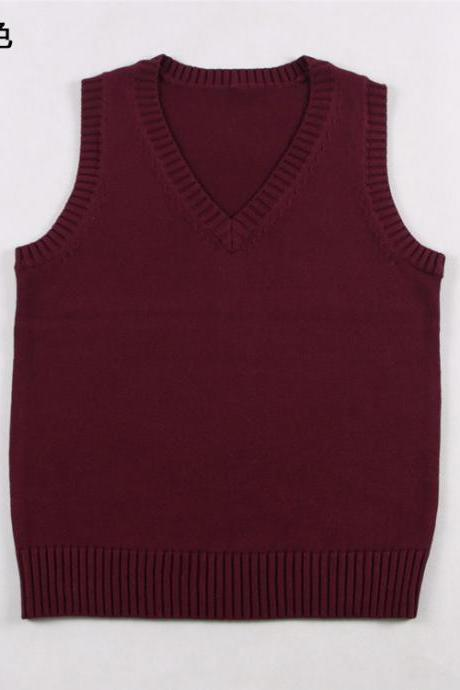 Japanese School Student JK Uniform Vest Girls Sleeveless V-Neck Sailor Knited Sweater Anime Love Live K-on Cosplay burgundy
