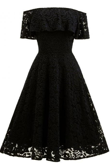 Women Ruffles Lace Dress Off the Shoulder Cocktail Party Gown Female Vintage Big Swing A Line Dress black
