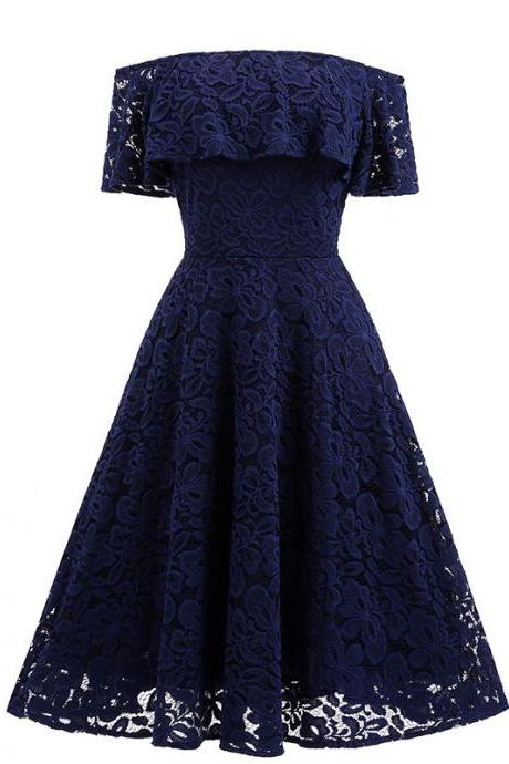 Women Ruffles Lace Dress Off the Shoulder Cocktail Party Gown Female Vintage Big Swing A Line Dress navy blue