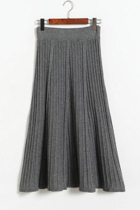Vintage Fashion Pleated Skirt Women Knitted Autumn Winter High Waist A Line Long Midi Skirts gray