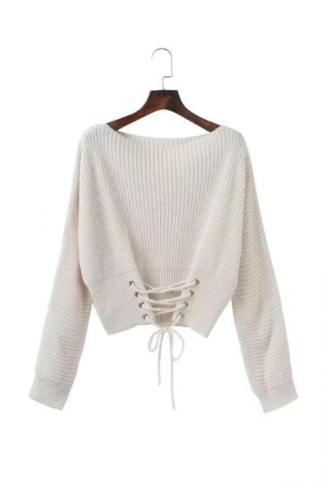 Fashion Autumn Winter Casual Knitted Sweater Solid Long Sleeve Lace up Women Tops Girls Short Pullovers off white