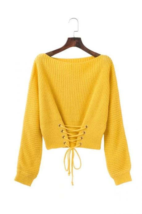 Fashion Autumn Winter Casual Knitted Sweater Solid Long Sleeve Lace up Women Tops Girls Short Pullovers yellow