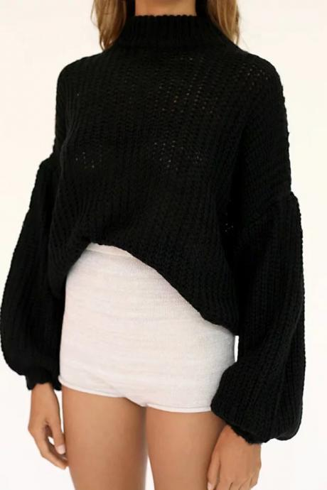 Balloon Sleeve High Neck Spring Autumn Sweater Women Dropped Shoulder Loose Solid Knitwear Pullovers black