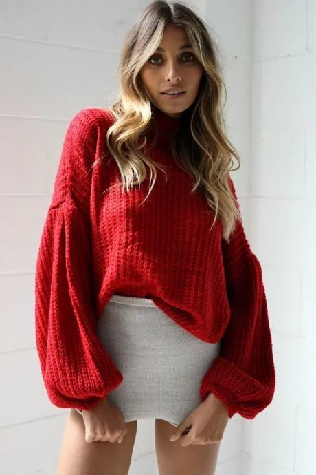 Balloon Sleeve High Neck Spring Autumn Sweater Women Dropped Shoulder Loose Solid Knitwear Pullovers red