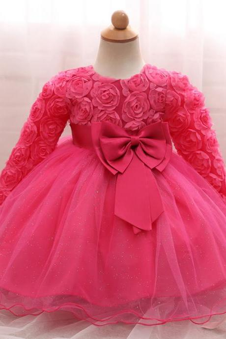 Toddler Girl Dress Newborn Baby Kids Lace Long Sleeve Infant Ball Gown Flower Girl Dress Bow Children Clothes hot pink