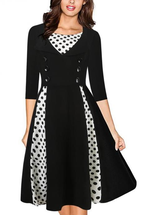 Women Vintage 50s 60s Audrey Hepburn Dress Half Sleeve Polka Dot Patchwork Casual Rockabilly Party Cocktail Swing Dress black